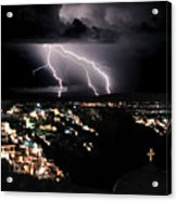 Lightning During A Thunderstorm On The Island Of Santorini, Greece Acrylic Print