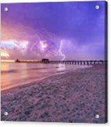 Lightning Naples Pier Acrylic Print