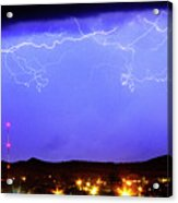 Lightning Over Loveland Colorado Foothills Panorama Acrylic Print