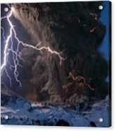 Lightning Pierces The Erupting Acrylic Print by Sigurdur H Stefnisson
