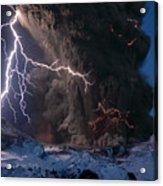 Lightning Pierces The Erupting Acrylic Print by Sigurdur H Stefnisson