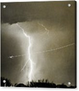 Lightning Storm City Lights Jet Airplane Fine Art Photography Acrylic Print