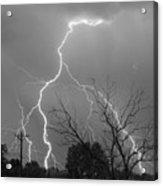 Lightning Storm On 17th Street Bw Fine Art Print Acrylic Print
