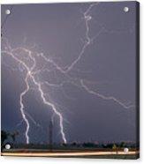 Lightning Storm  Power Lines Car Trails Acrylic Print