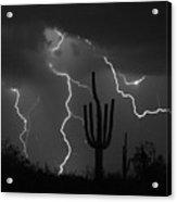 Lightning Storm Saguaro Fine Art Bw Photography Acrylic Print