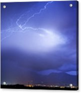 Lightning Strikes Over Boulder Colorado Acrylic Print