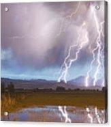 Lightning Striking Longs Peak Foothills 4 Acrylic Print