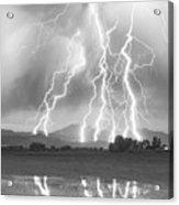 Lightning Striking Longs Peak Foothills 4cbw Acrylic Print