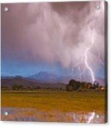 Lightning Striking Longs Peak Foothills 7c Acrylic Print