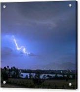 Lightning Striking Over Boulder Reservoir Acrylic Print