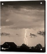 Lightning Thunderstorm July 12 2011 Strikes Over The City Sepia Acrylic Print