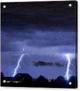 Lightning Thunderstorm July 12 2011 Two Strikes Over The City Acrylic Print