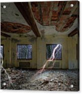 Lightnings On The Abandoned Hotel Of Liguria Mountains - Fulmini Su Hotel Abbandonato Sull'av Acrylic Print