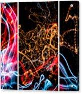 Lightpainting Triptych Wall Art Print Photograph 5 Acrylic Print