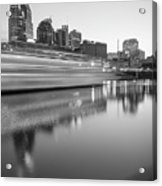 Lights Through The Nashville Skyline In Black And White Acrylic Print