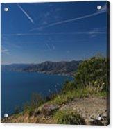 Liguria Paradise Gulf Panorama With Yellow Flowers Acrylic Print