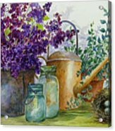 Lilacs And Ball Jars Acrylic Print