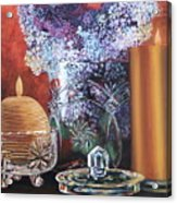 Lilacs And Candles Acrylic Print