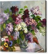 Lilacs And Pansies Acrylic Print