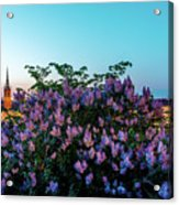 Lilacs And Sunset To Blue Hour Transition Over Gamla Stan In Stockholm Acrylic Print