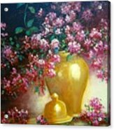 Lilacs In Gold Vase Acrylic Print