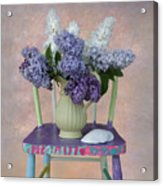 Lilacs With Chair And Shell Acrylic Print