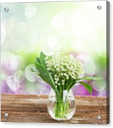 Lilly Of Valley Posy In Glass Acrylic Print