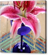 Lily On A Painted Table Acrylic Print