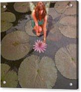 Lilypad Fairy Acrylic Print by Patricia Ridlon