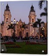 Lima Cathedral At Night Acrylic Print