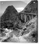 Lime Creek Bridge Highway 1 Big Sur Ca B And W Acrylic Print