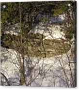 Limestone And Snow Acrylic Print by Richard Mitchell