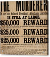 Lincoln Assassination Reward Poster Acrylic Print