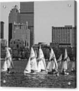 Line Of Boats On The Charles River Boston Ma Black And White Acrylic Print