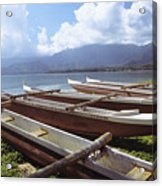 Line Of Outrigger Canoes Acrylic Print by Joss - Printscapes
