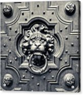 Lion Head Door Knocker Acrylic Print by Adam Romanowicz