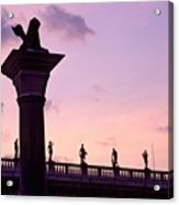Lion Of Veniceagainst Evening Sky Acrylic Print