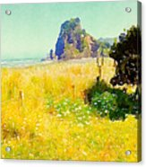 Lion Rock Painted Photo Acrylic Print