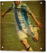 Lionel Andres Messi Argentine Footballer Fc Barcelona  Acrylic Print by Lee Dos Santos