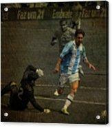 Lionel Messi Breaking Raphael Cabrals Ankles  Acrylic Print by Lee Dos Santos