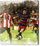 Lionel Messi Challenges The Athletic Bilbao Defense Acrylic Print
