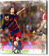 Lionel Messi  Fights For The Ball Acrylic Print