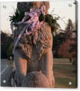 Lions Statue With Ribbon Acrylic Print