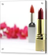 Lipsticks And Flowers. Isolated Acrylic Print