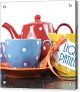 Liquid Patience Colorful Tea Set. Acrylic Print