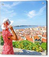 Lisbon Castle Woman Acrylic Print