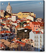 Lisbon Cityscape In Portugal At Sunset Acrylic Print