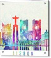 Lisbon Landmarks Watercolor Poster Acrylic Print