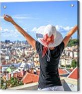 Lisbon Panorama Enjoying Acrylic Print