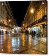 Lisbon Portugal Night Magic - Nighttime Shopping In Baixa Pombalina Acrylic Print
